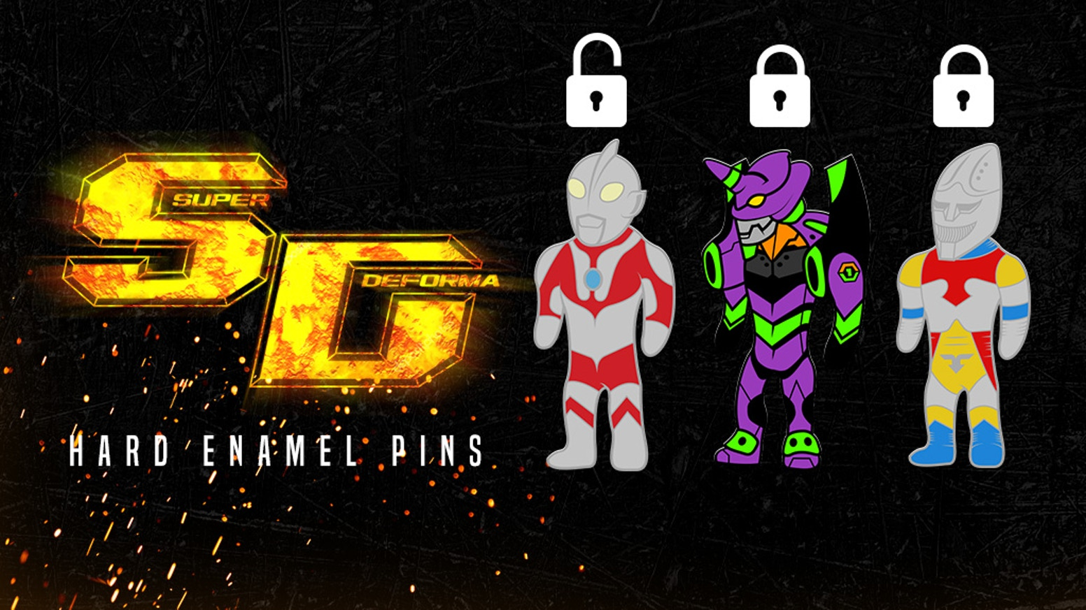 A set of enamel pins, based on classic and modern day giant robots that have shaped anime and kaiju culture, from Atomize.
