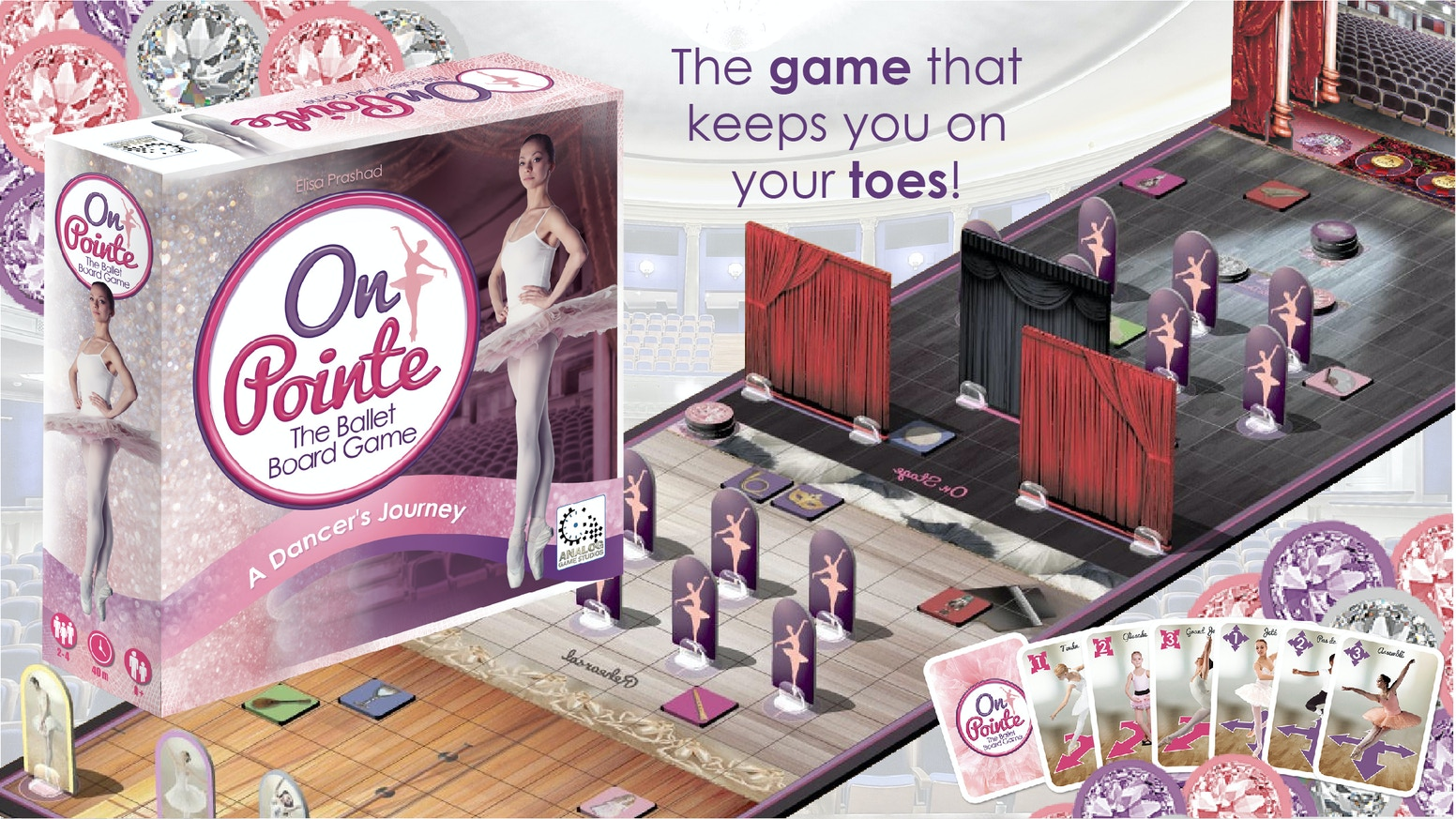In pursuit to become Prima, collect gems & treasures in the first ever set collection ballet themed tabletop board game.
