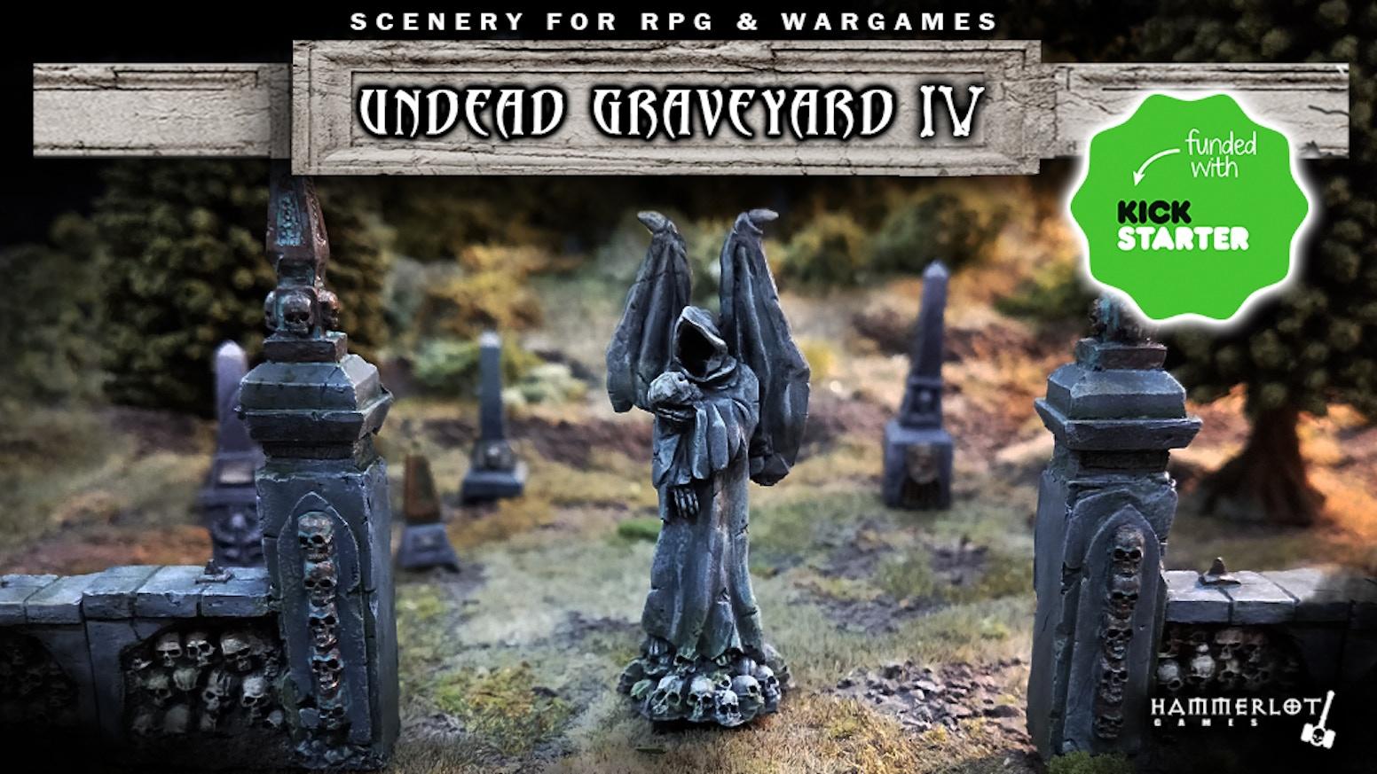 Undead scenery, Graveyard Statues, dead and skulls. Miniatures 28/30mm. Board games, tabletop, RPG, fantasy, wargames