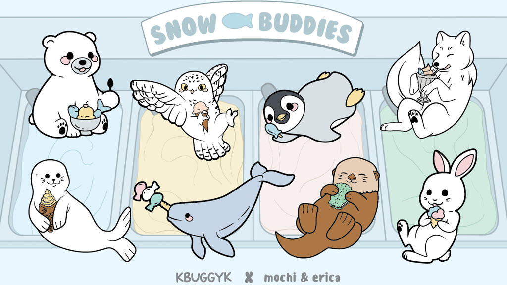 Project image for Snow Buddies Enamel Pin Collection - Mochi & Erica x KBuggyK