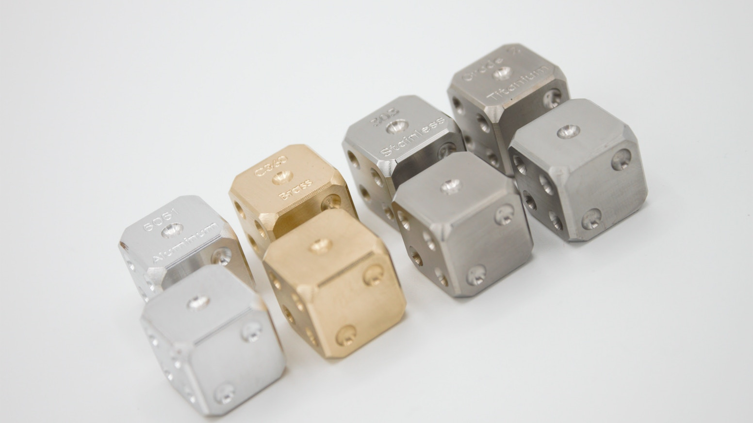 Dice made from engineering alloys: Now offering titanium and stainless steel!