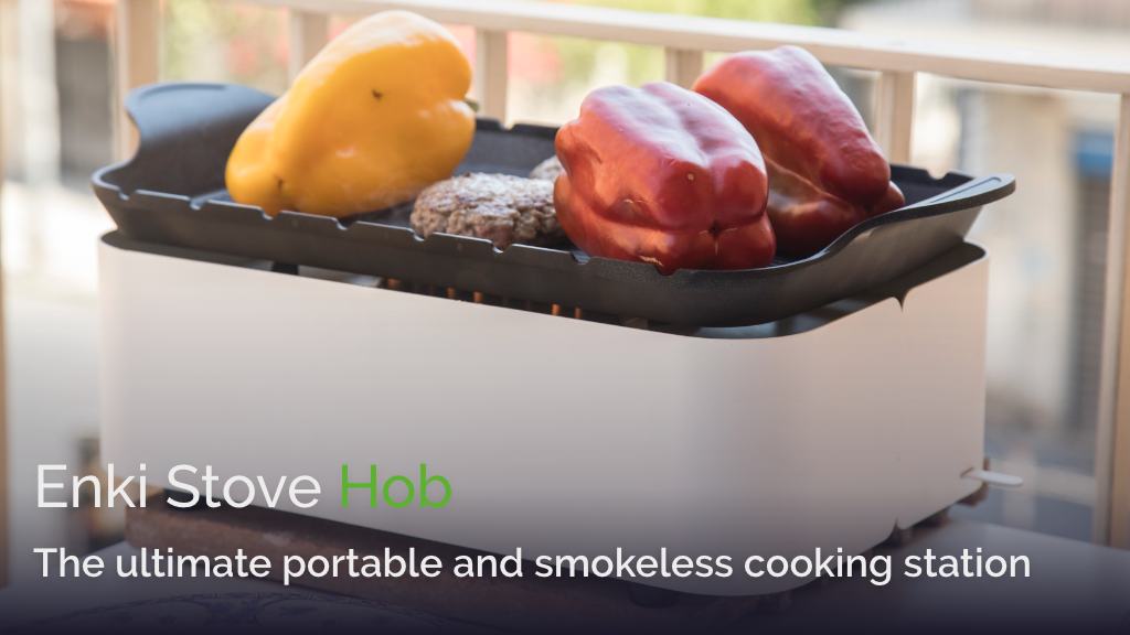 Tabletop grill with easy-to-ignite, smokeless flame