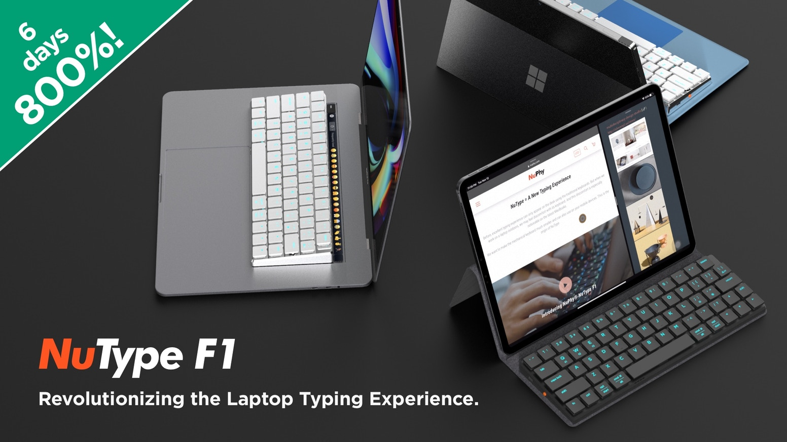 A Wireless Mechanical Keyboard That Fits Perfectly With Your MacBook, Surface, iPad and mobile devices.