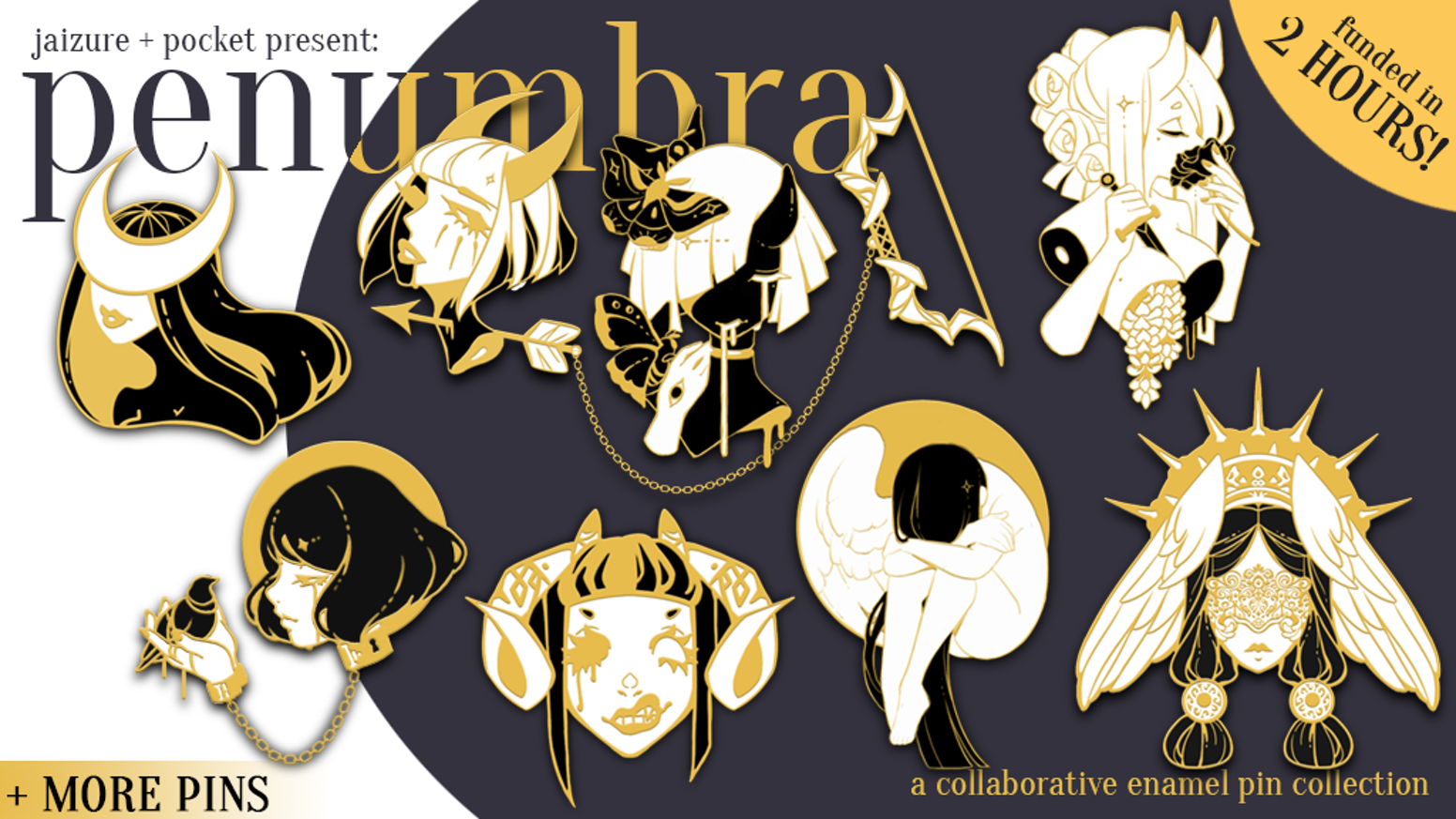 Penumbra Pin Collection is a collaborative set of original enamel pins themed around angels and demons.