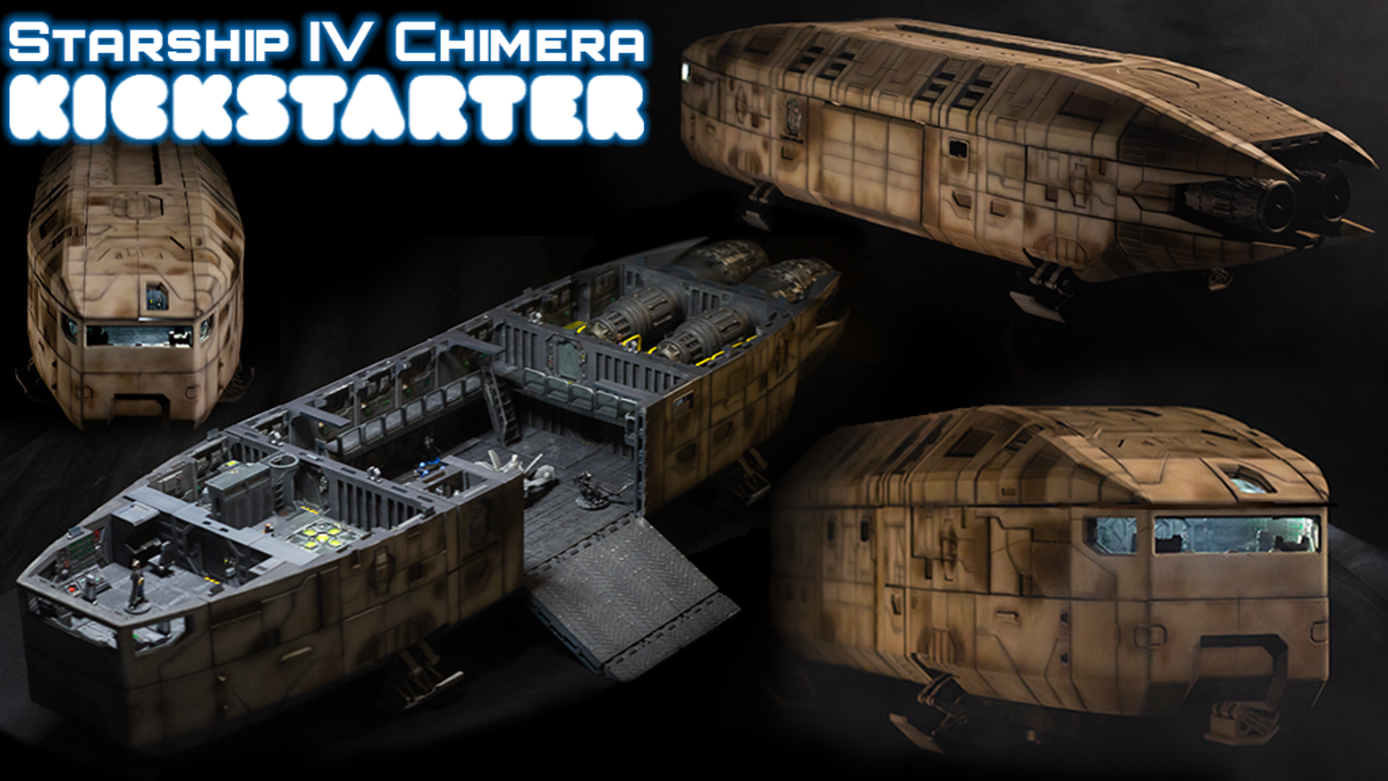 Complete 28mm scale 3D printable spaceship for tabletop play or display, including full OpenLOCK-compatible modular interiors