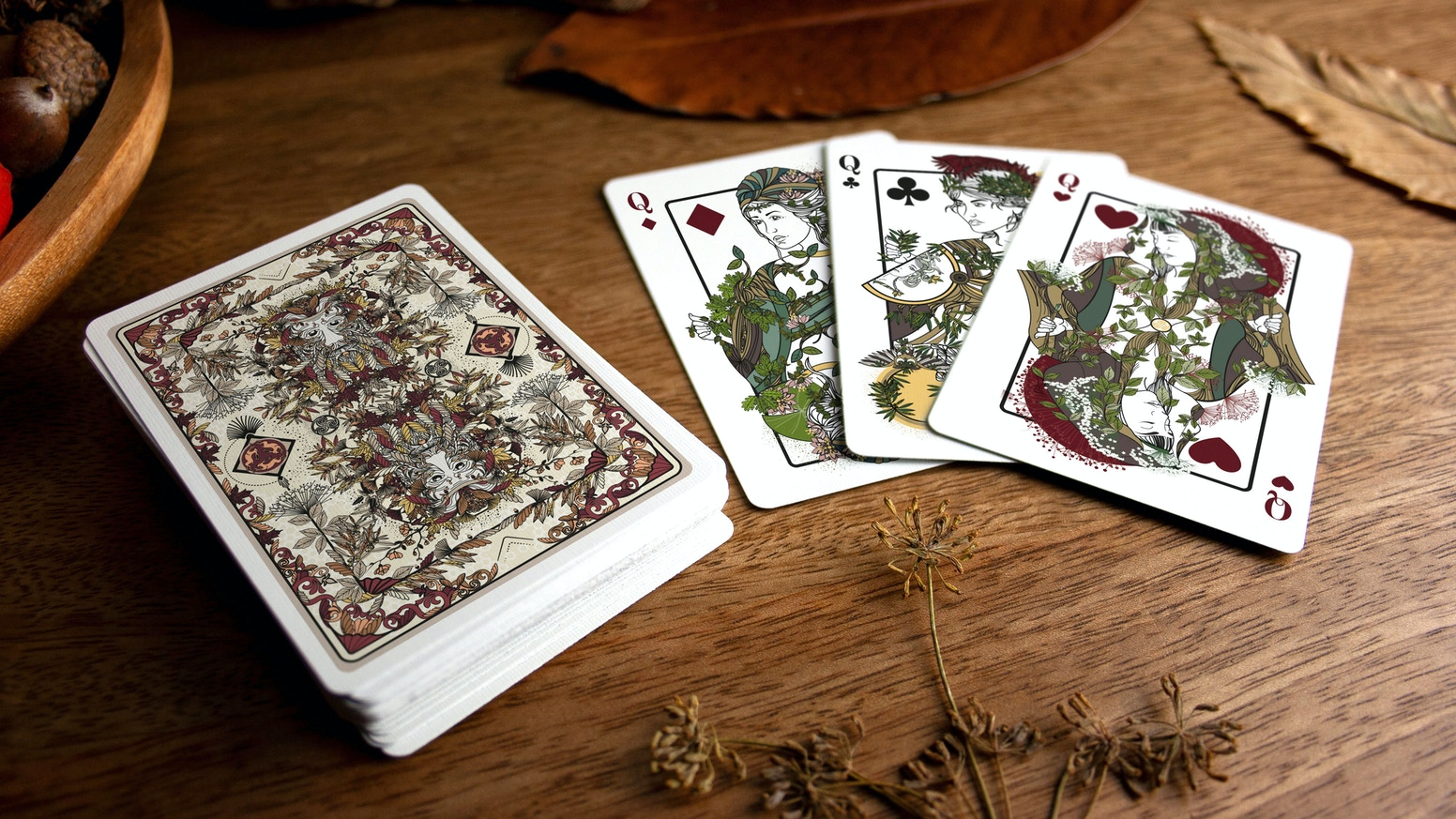 Playing cards inspired by the legends of the forest and the folklore of the plant world.  Made in Europe. Printed by Cartamundi.