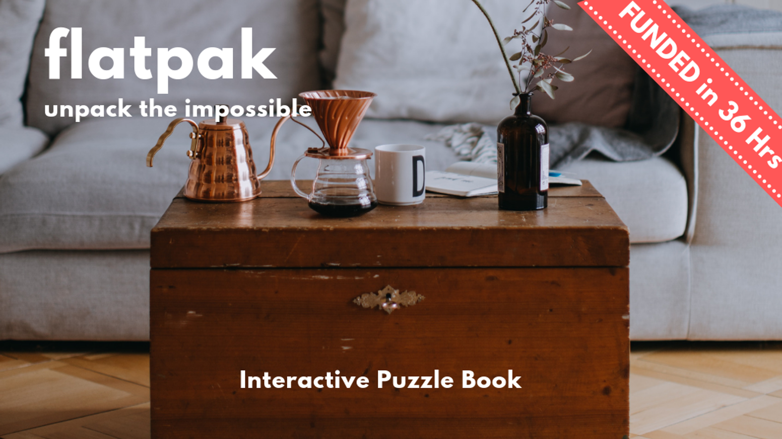 A full-colour glossy interactive puzzle book, in the guise of a popular Scandinavian furniture store catalogue, Flatpak.