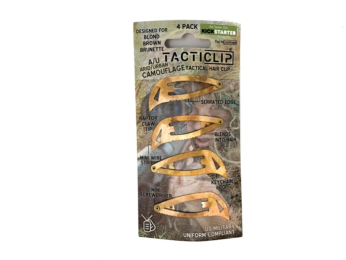 World's first tactical hair clip, now in A/U camouflage for blond & brown hair. The covert multitool for unpredictable lifestyles.