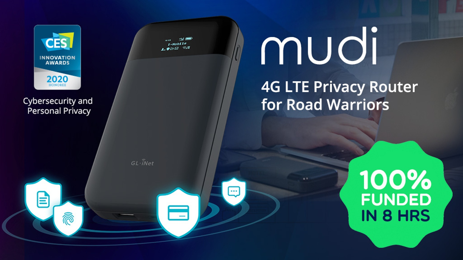 A portable 4G LTE wireless router for frequent travelers who want to secure their data with state-of-art cryptography wherever they are.