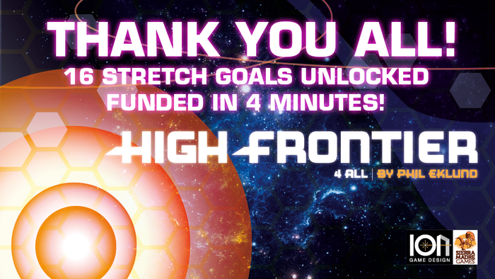 High Frontier, Phil Eklund's signature game. For all: with extensive tutorials and enthusiast's rules in modules; printed continuously.