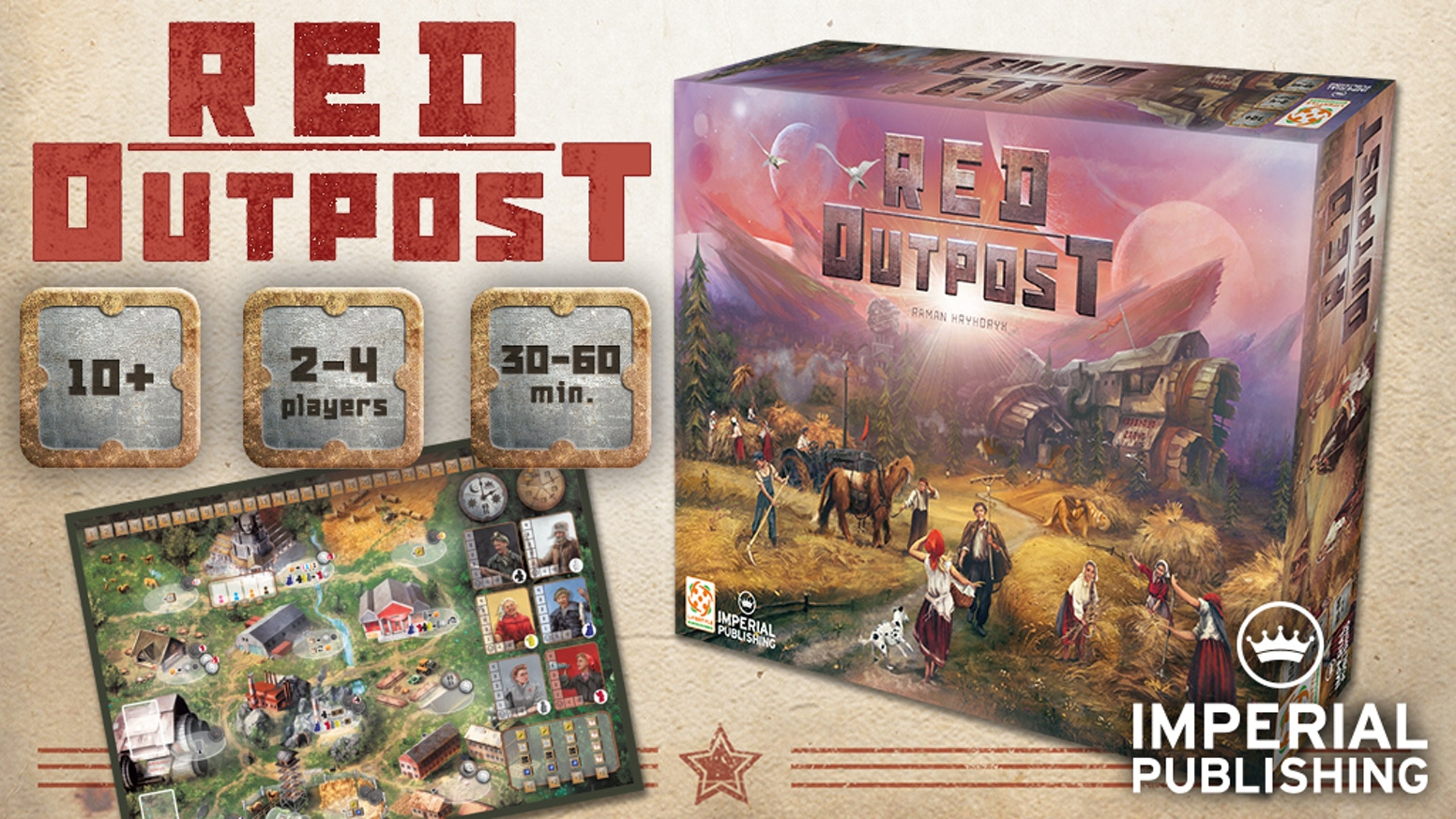 Red Outpost is a 2-4 player 30-60 minute worker-placement game set on an alien planet.  A competitive game set in a Communist Utopia.