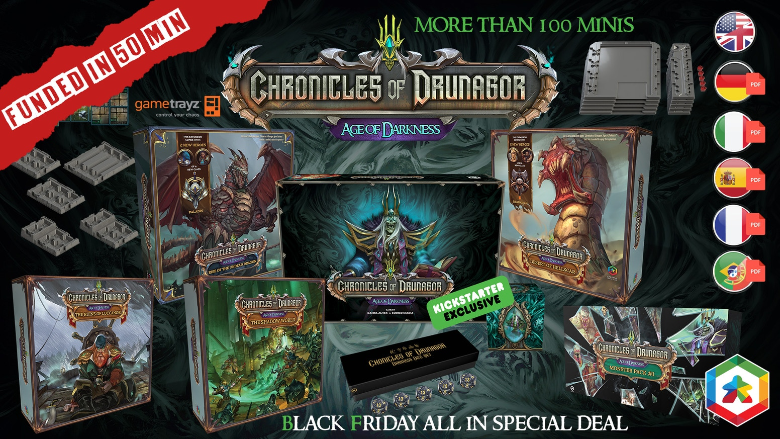 Chronicles of Drunagor: Age of Darkness is a fully cooperative dungeon crawler for 1 to 5 players.