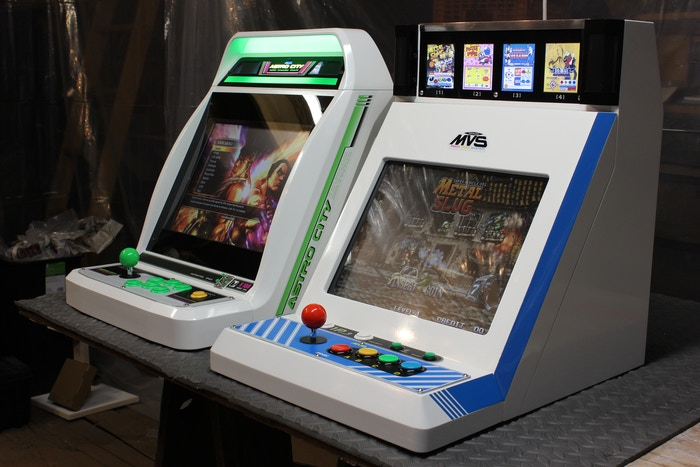 Working arcade cabinets inspired by iconic Japanese arcade designs.