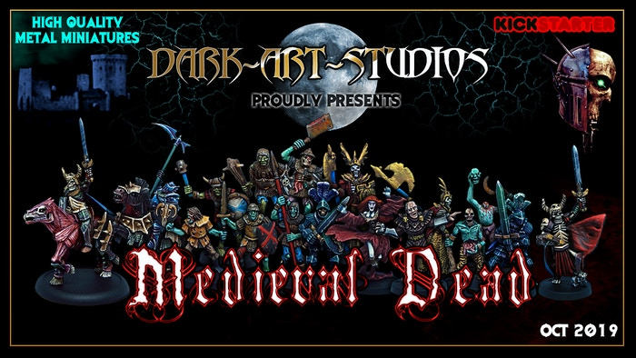 A collection of undead dark fantasy miniatures, traditionally sculpted by hand and cast in white metal.