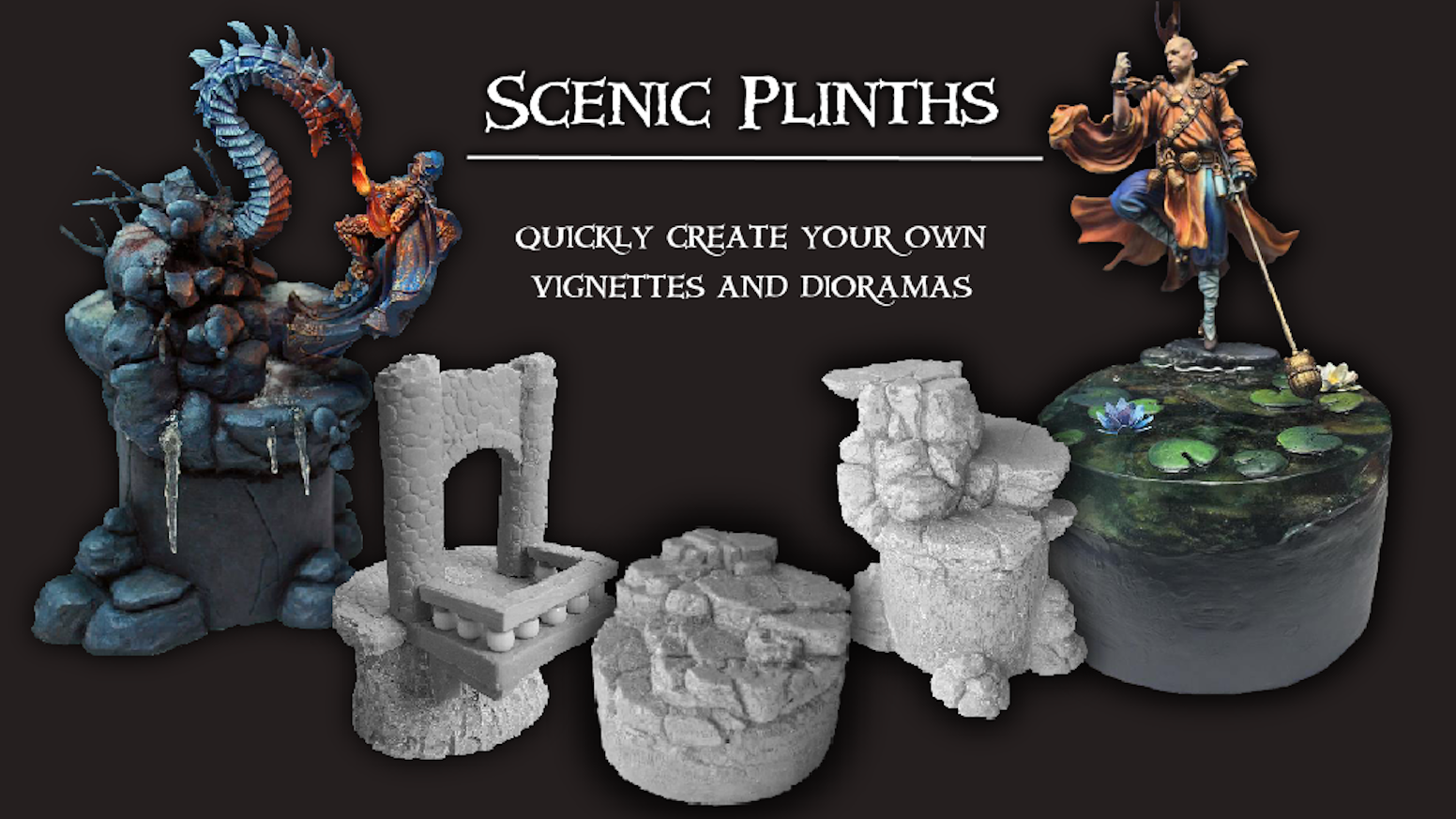 Scenic resin plinths help turn your finely painted miniatures into near instant vignettes, dioramas and displays.