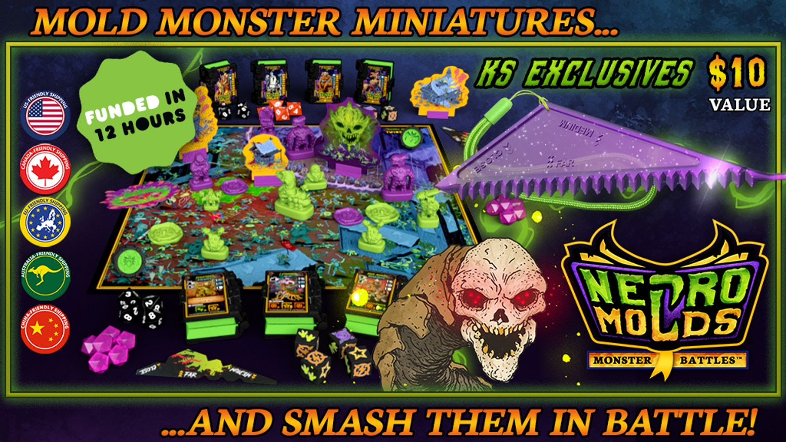 Mold, fight, and smash monster armies in this unique miniatures strategy skirmish tabeletop game for all ages!