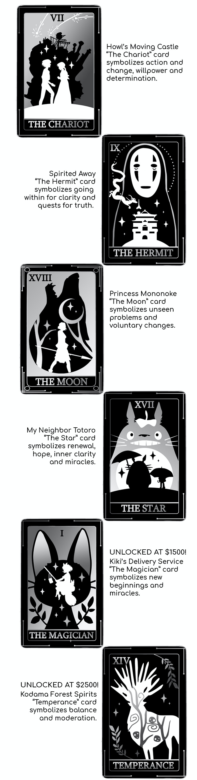 Studio Ghibli Tarot Card Enamel Pins By Sarah Lal Kickstarter