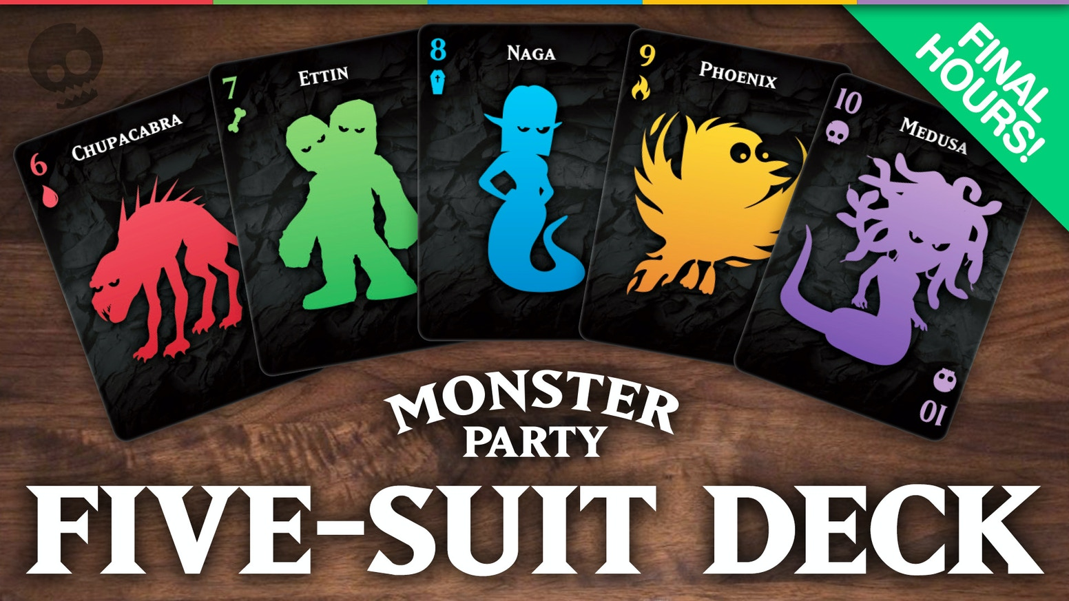 Monster Party is a custom five-suit deck of playing cards featuring 50 fun original monster illustrations.