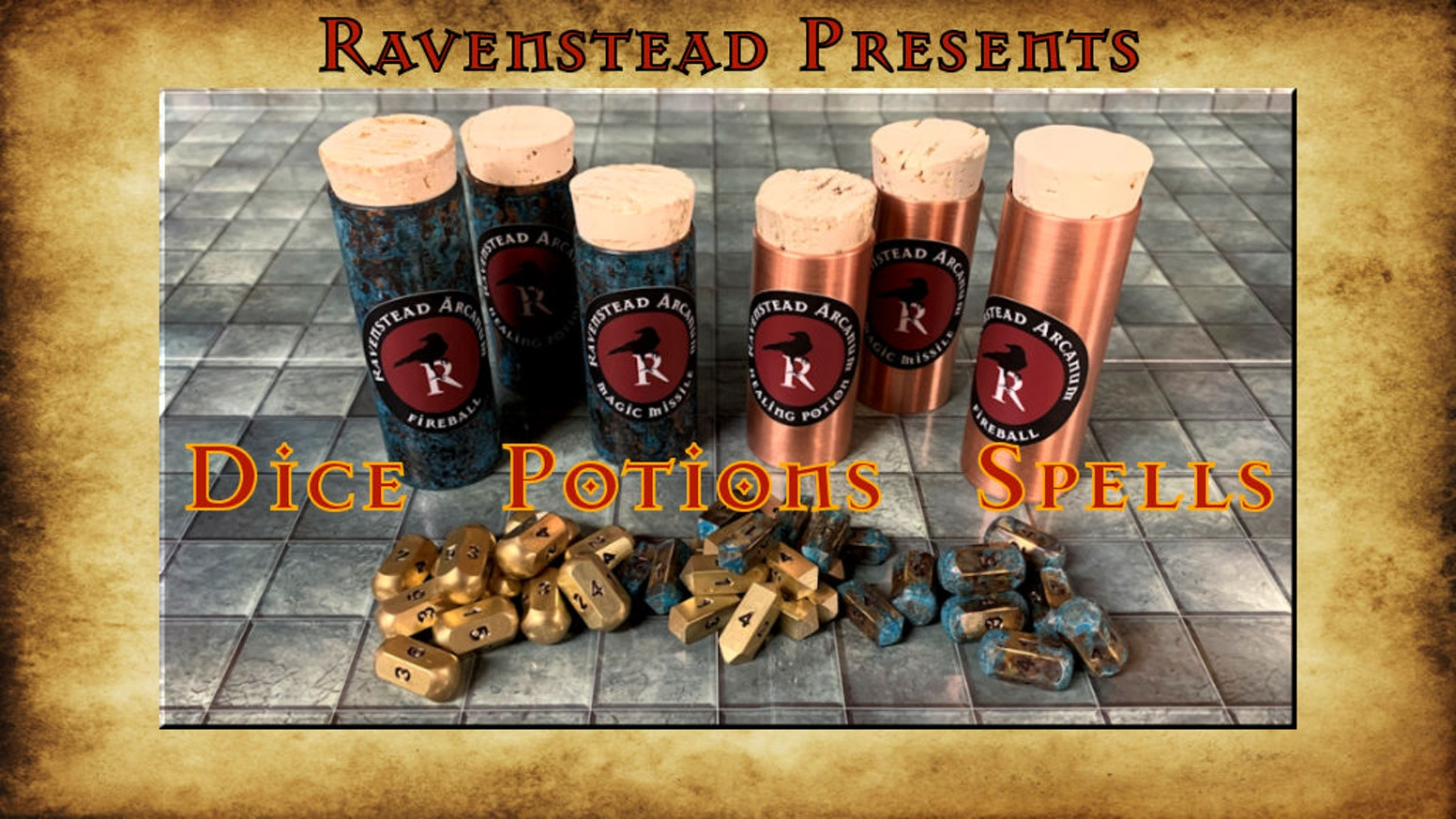 Handmade Brass Dice and Copper Bottles for Casting Magic in Role Playing Games