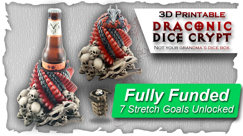 Draconic Dice Crypt: 3D Printable Dice Box & Drink Holder project video thumbnail