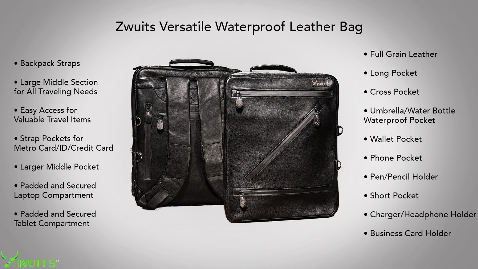 Hazardous-chemical Free Versatile Leather Bag that can be Carried as a Messenger, Briefcase, and Backpack.