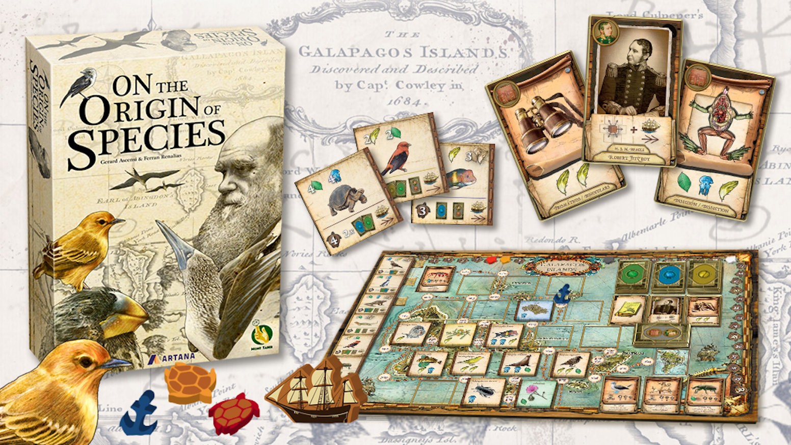 On The Origin of Species is a strategic board game about the journey of Charles Darwin through the Galapagos Islands.