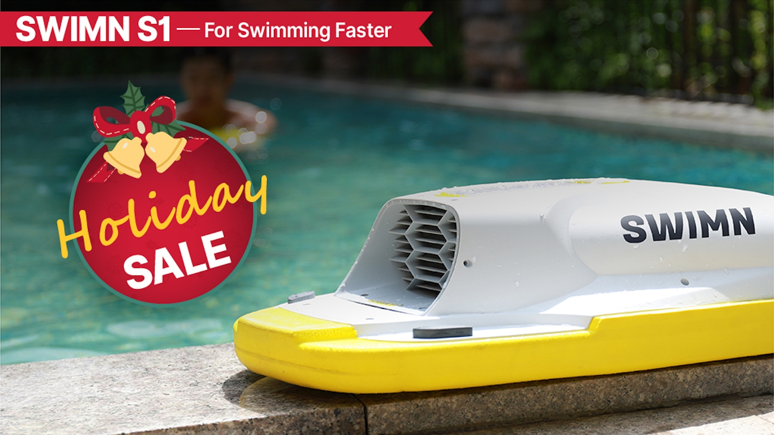 The amazing electric swimming kickboard that helps you swim fast, fun, and safely.
