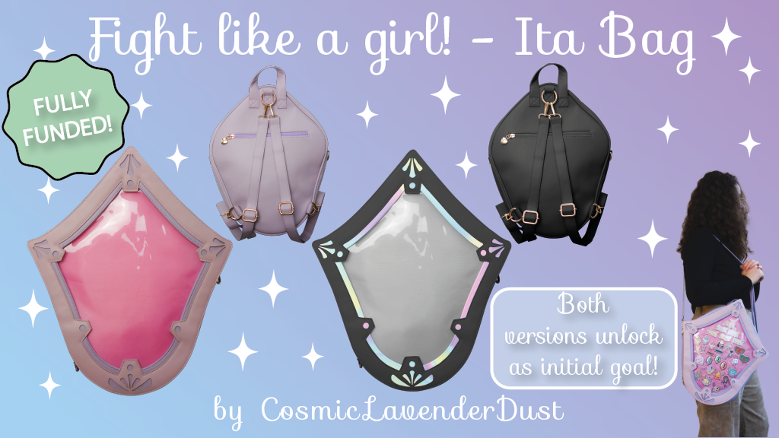 Pastel Ita Bag to display enamel pins and such. The perfect bag to attend conventions with or wear with your cosplay! ♥