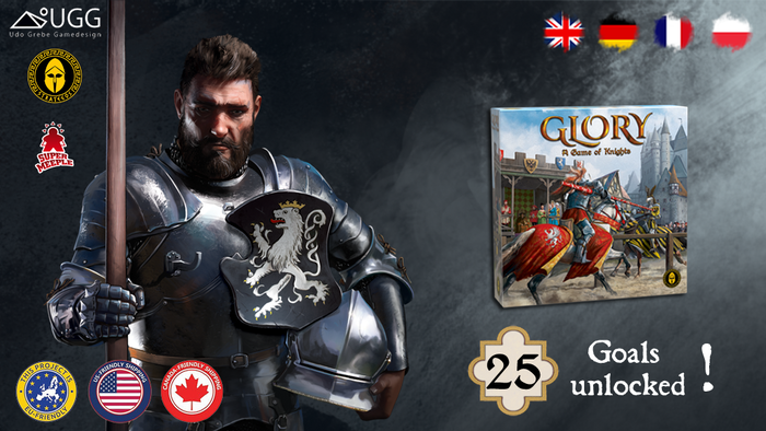 GLORY mixes jousting with worker placement. Become a medieval knight who fights for glory and for the affection of beautiful ladies.