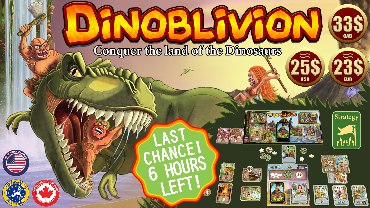 Combines Deck Building, Tableau Building, Resource Management and Multi-Use Cards to Take Over a Land Dominated by Dinosaurs.