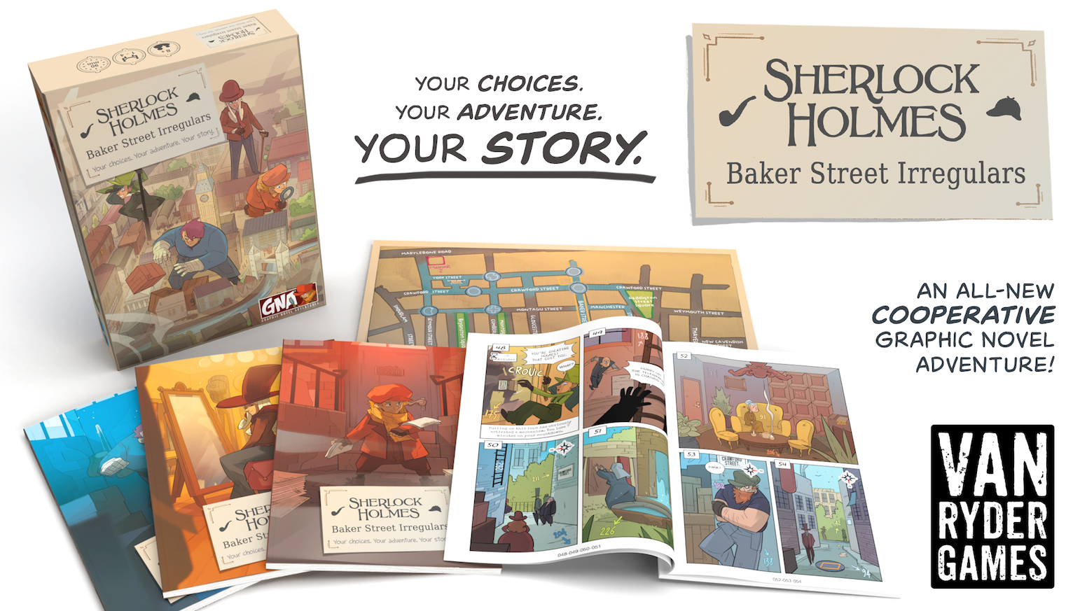 A cooperative Graphic Novel Adventure for 1-4 players. Plus, see how it all began in the new GNA book, Sherlock Holmes: The Beginning.
