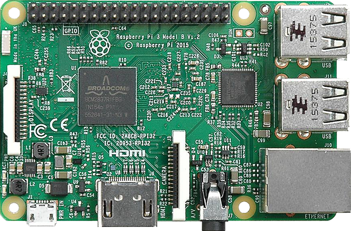 Raspberry Pi, a Linux-based single board computer. Source: Herbfargus