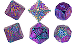 Solid Brass Rainbow Serpentine Dice by Polyhydra thumbnail