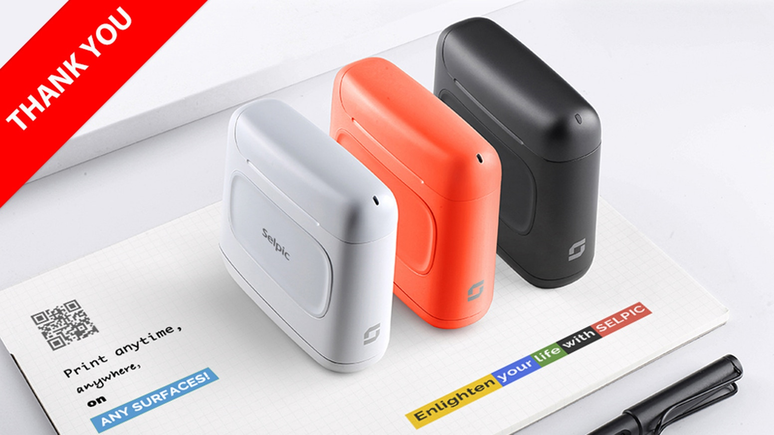 Selpic S1+ is a palm-sized smart handheld printer that can print texts and images anytime and anywhere!