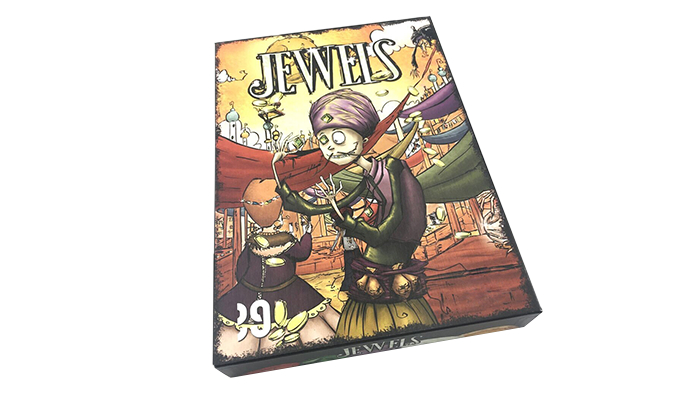 Jewels, a card game for 2 to 5 players. Become the richest merchant in Marylia!