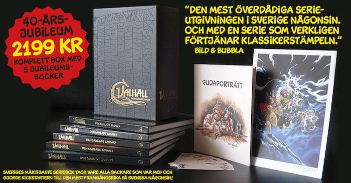 Det är 40 år sedan det första seriealbumet med VALHALL kom ut. Det ska vi fira! Och som vi firade – med ett svenskt Kickstarter-rekord som gjorde att vi kunde ta fram den mäktigaste samlingsboxen i mannaminne!