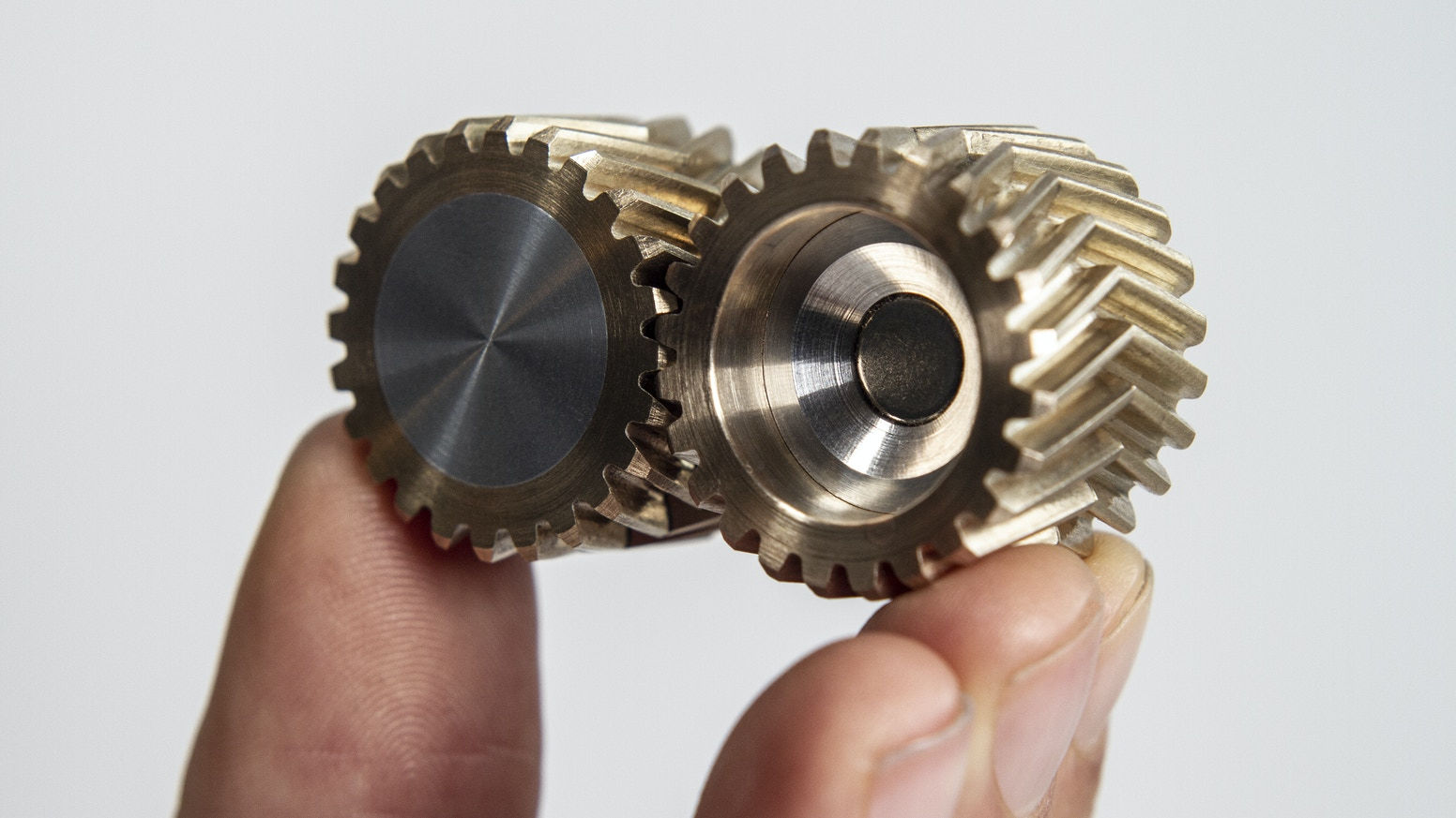 Solid brass and aluminium herringbone-gear fidget toy, made by engineers, for engineers. Now available on Indiegogo! Click below to get yours!