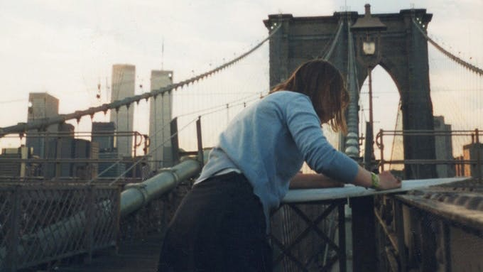 Lucinda Rogers in the process of creating New York Drawings