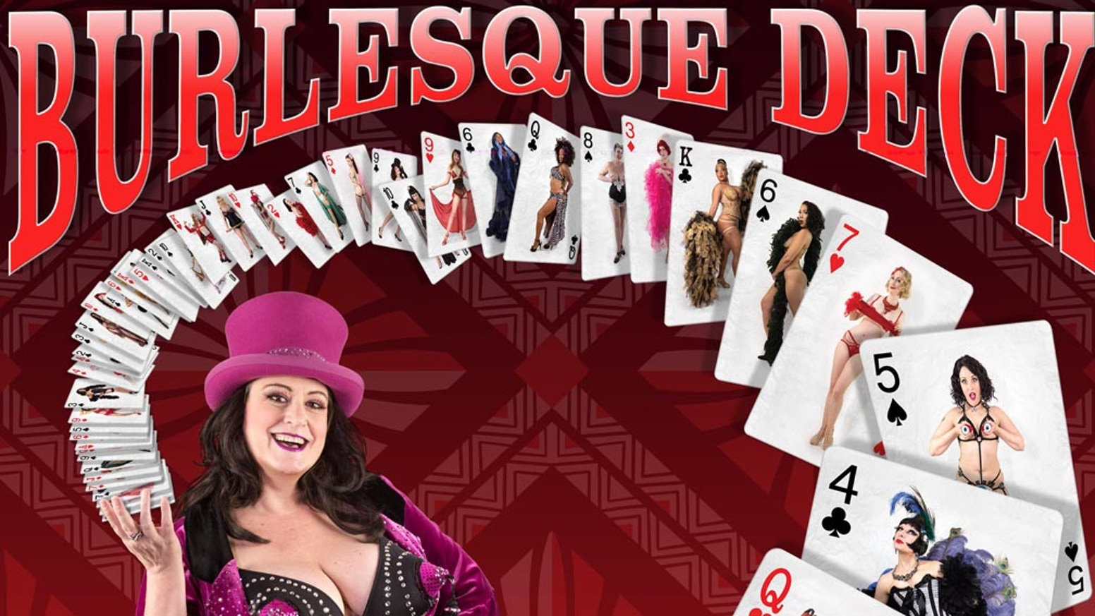 The Burlesque Deck is a unique poker sized deck of cards for the pin-up / burlesque collector, magician, & lover of art cards. Decks will available soon our website!