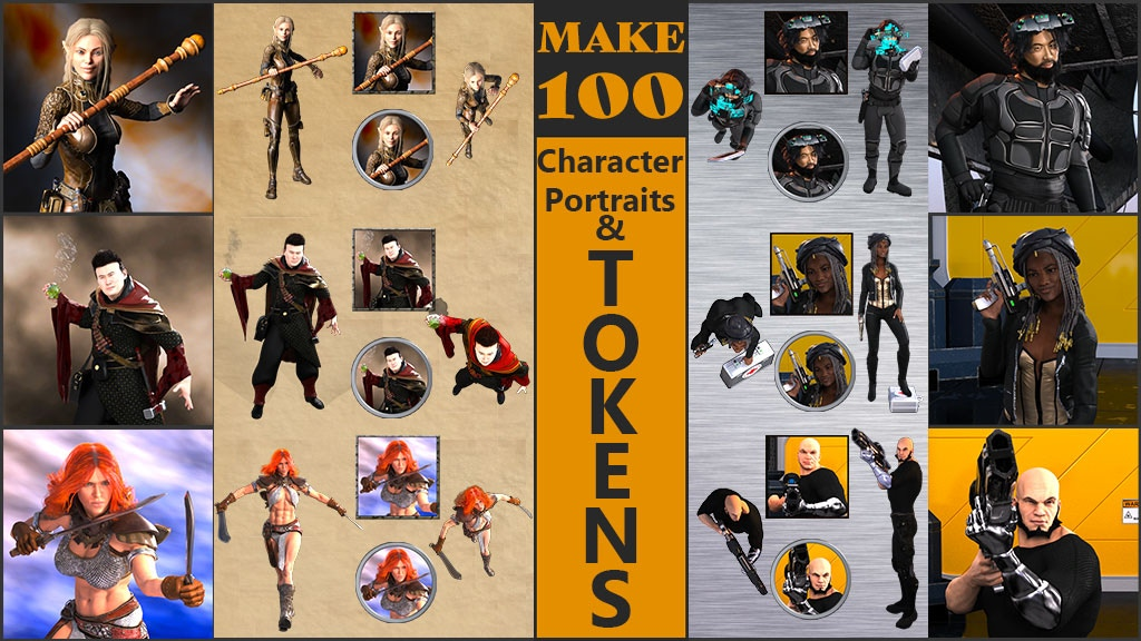 Project image for Make 100 Character Portraits & Tokens!