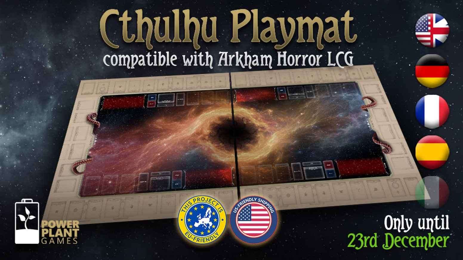 A non-official playmat designed for 1-2 players or 1 player with up to two investigators, compatible with  Arkham Horror LCG.
