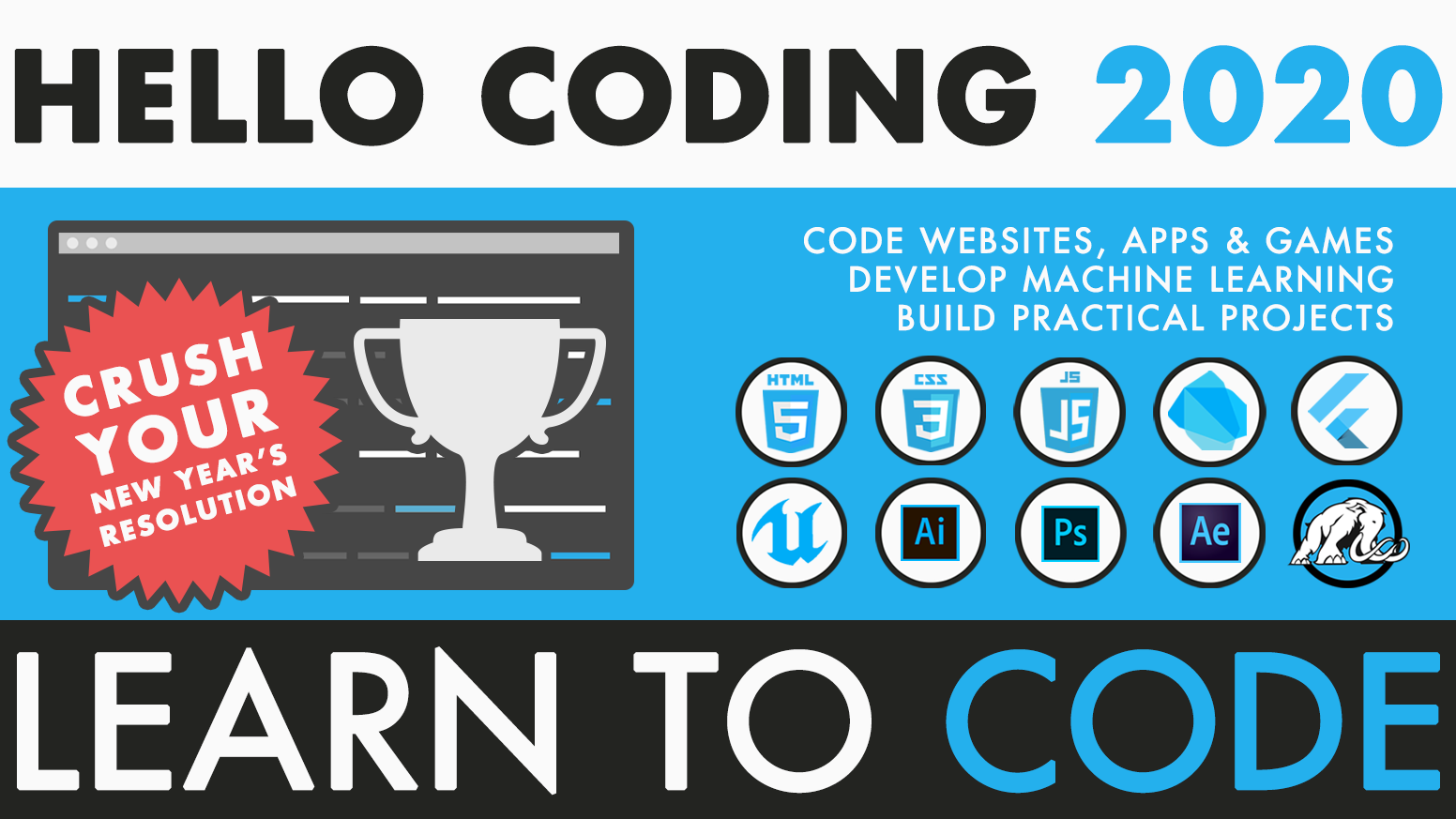 Build websites, games, apps and artificial intelligence projects with our online courses.