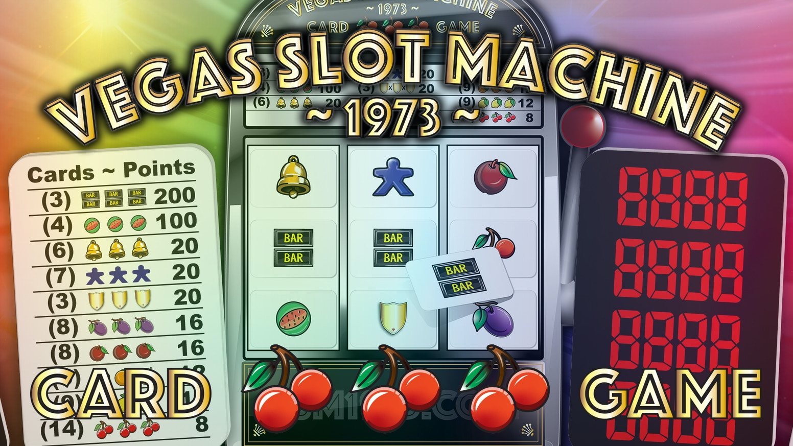Slot machine theme card game. Solo, competitive, co-operative or in teams. 1-4 players. 10-40 min. Easy to learn hard to master.