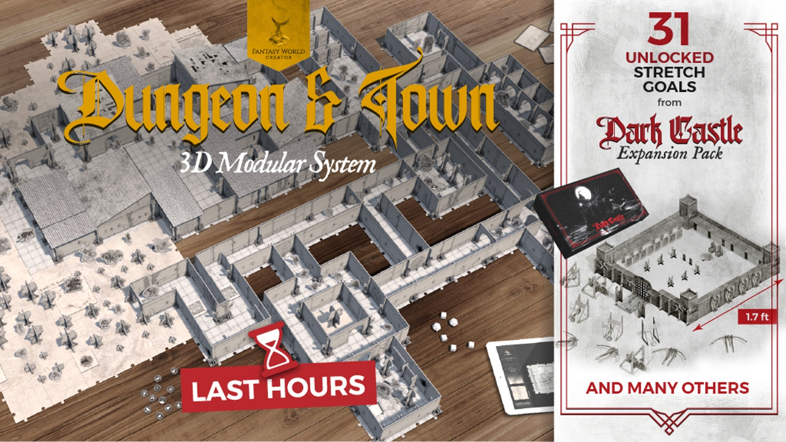 Build and play your adventure in 3 dimensions! Adaptable to DnD, miniature games and any fantasy Role-Playing Game.