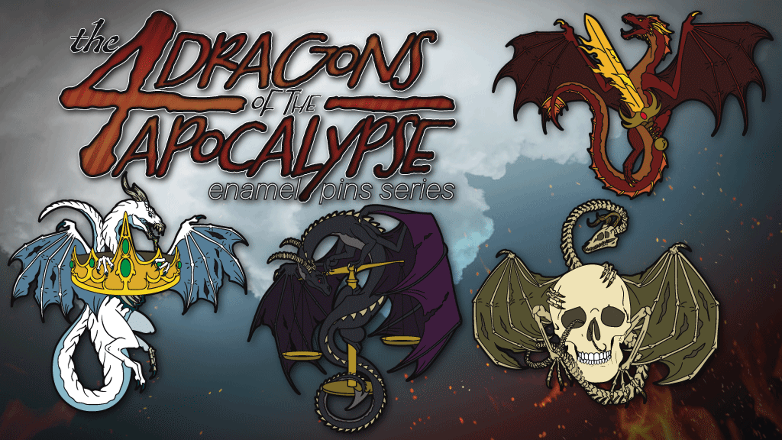 Enamel pins based on the 4 horsemen of the apocalypse but as dragons!
