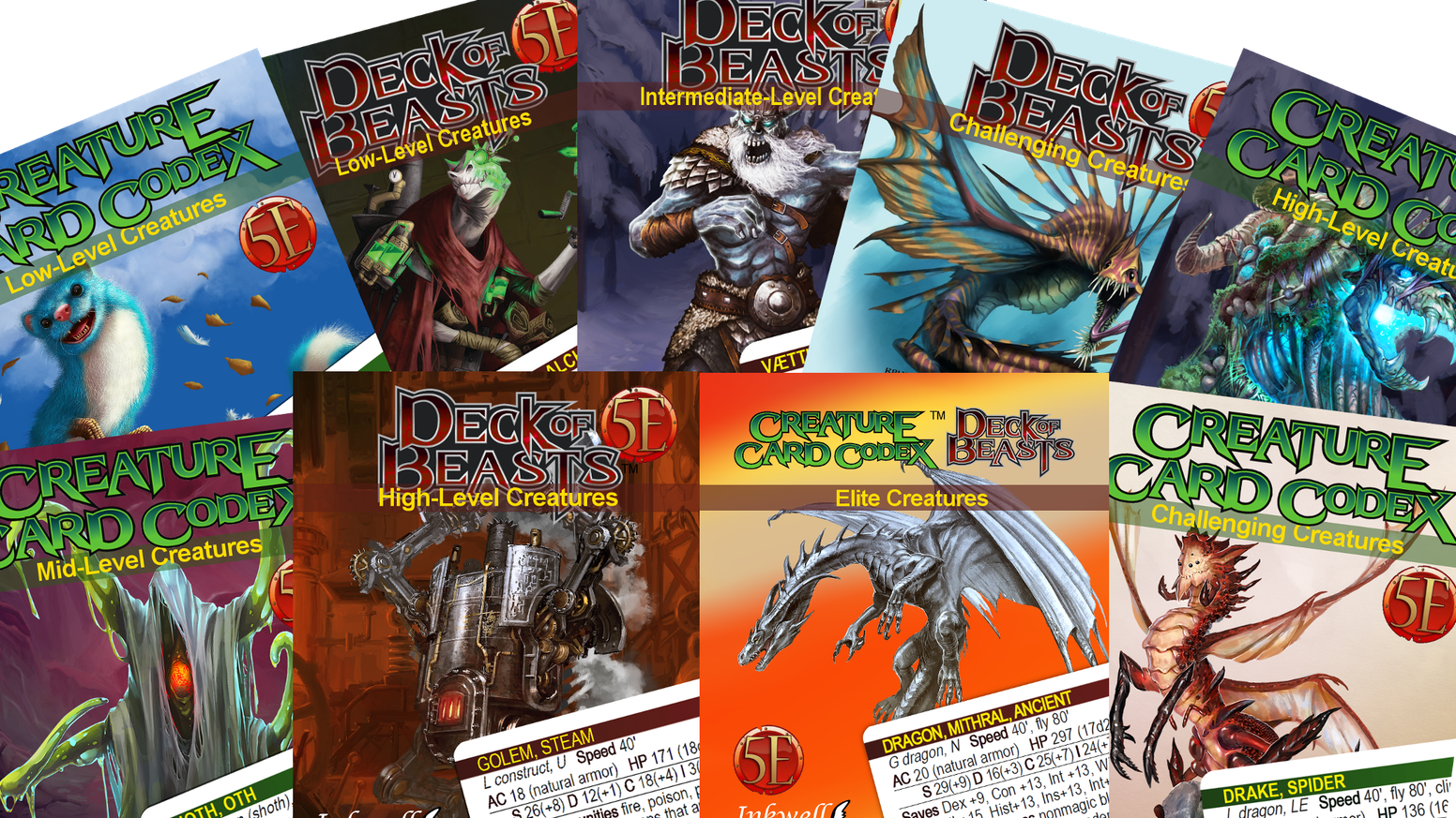 5e Creature Cards from Kobold Press's Tome of Beasts & Creature Codex.