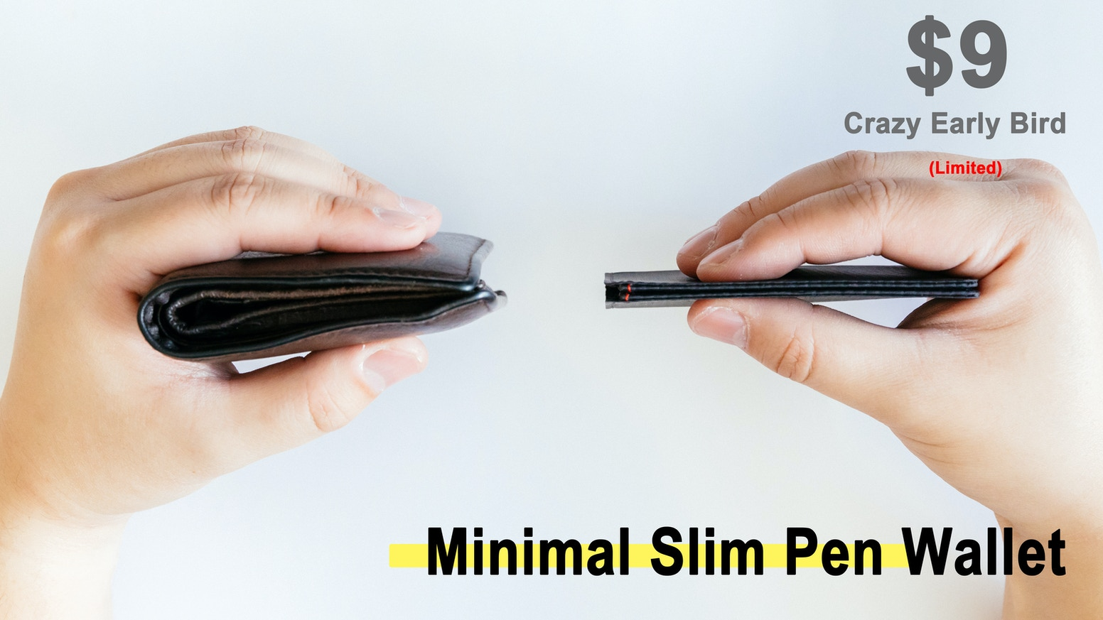 A Sharp and minimal Bi-fold wallet with a pen slot, a smart-casual EDC wallet and card holder