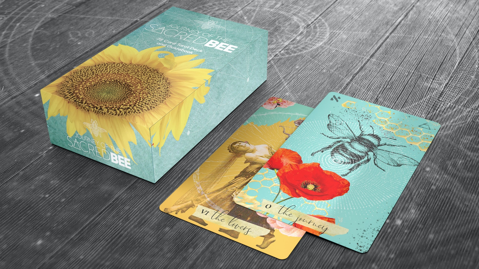 A Beautiful 78 Card Tarot deck taking you through a magical journey with the Sacred Bee.