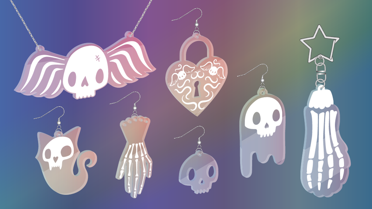 Color-shifting acrylic jewelry & accessories with a spooky theme. Special discounts for Make 100!