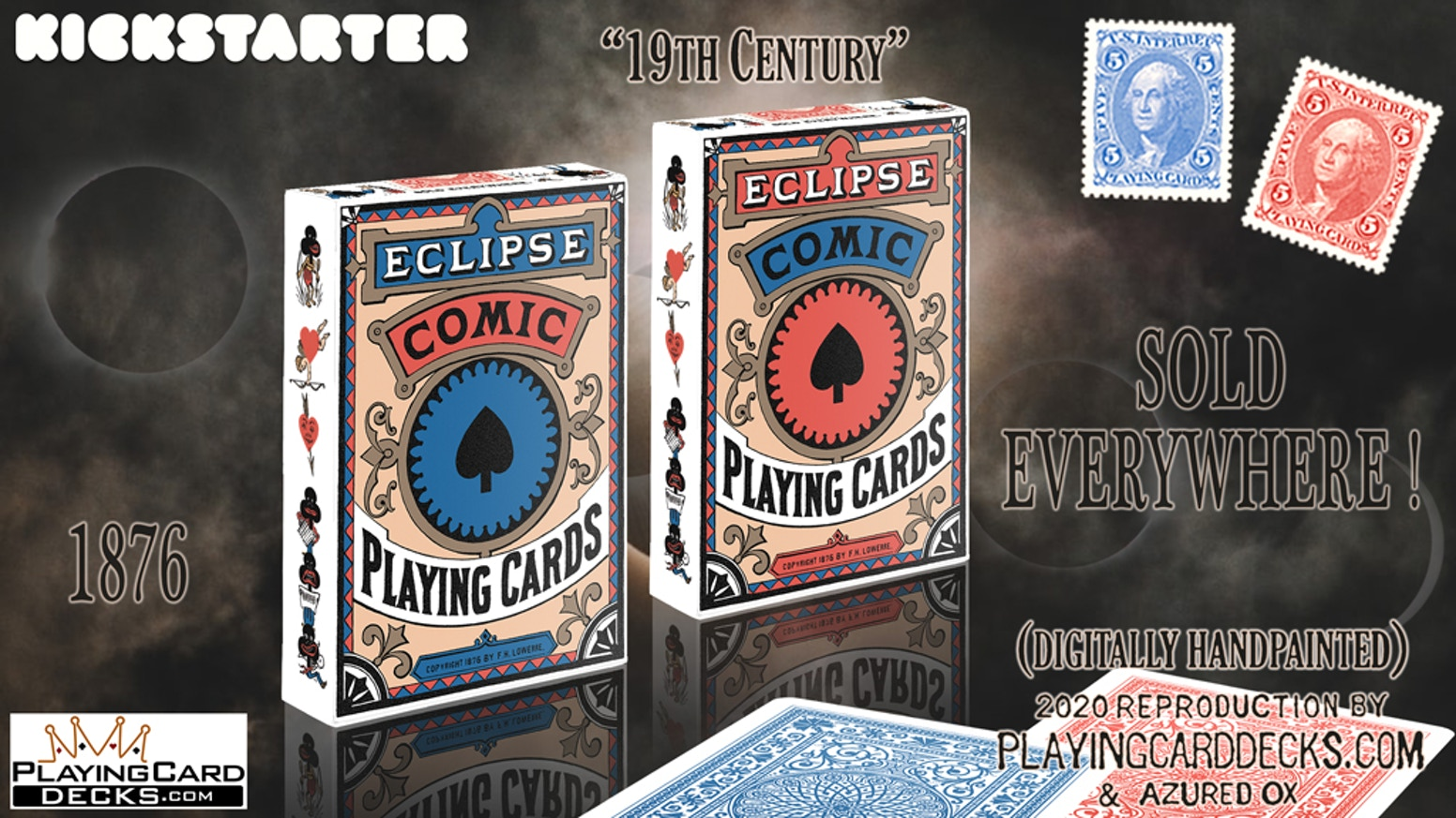 Playing cards originally printed in 1876, now digitally recreated from scratch. Help us bring back a part of playing card history.